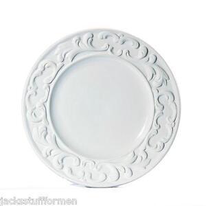 Image is loading INTRADA-Baroque-Set-of-4-Italian-Ceramic-White-  sc 1 st  eBay & INTRADA Baroque Set of 4 Italian Ceramic White Dinner Plates Made in ...