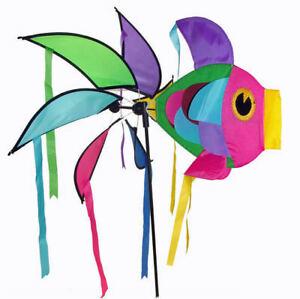Détails sur Moulin à vent girouette poisson géant multicolore, décoration  de jardin neuf