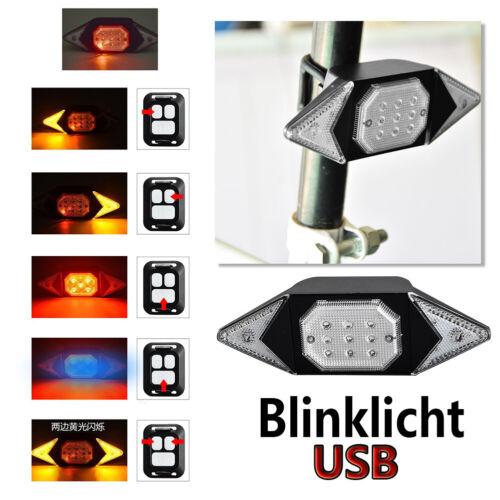 LED Fahrrad Rücklicht Bremslicht Blinker Remote Fernbedienung Warnung DHL BK