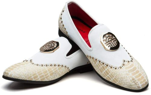 MEIJIANA Men/'s Vintage Leather Embroidery Noble Loafer Shoes Slip-on Loafer Smok