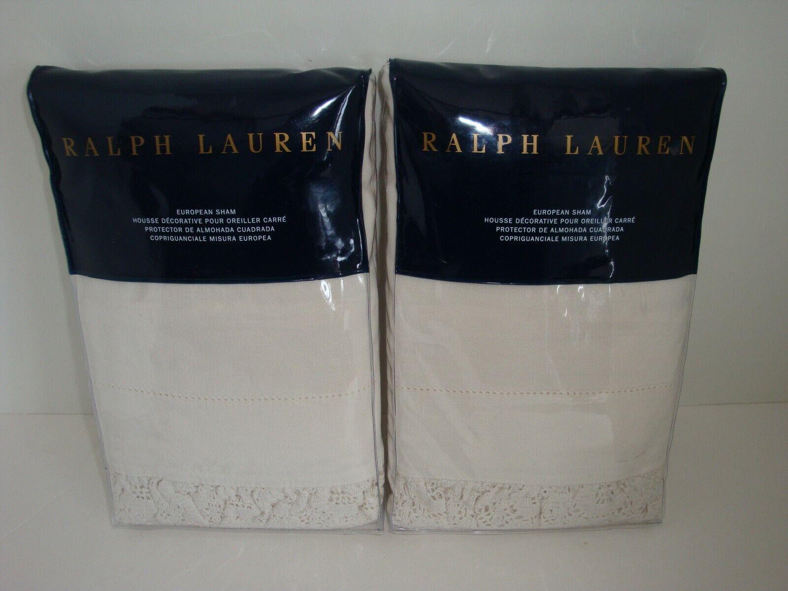 Ralph Lauren Hoxton Margaret S 2 Euro Shams NIP Cream Linen Cotton Crochet Edge