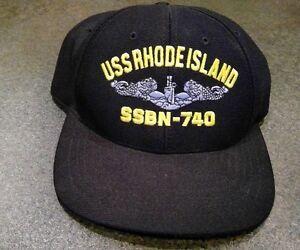 US Navy Submarine Service Ball Cap Dolphins Ships Hat RHODE ISLAND ... 6148a2d06c8c
