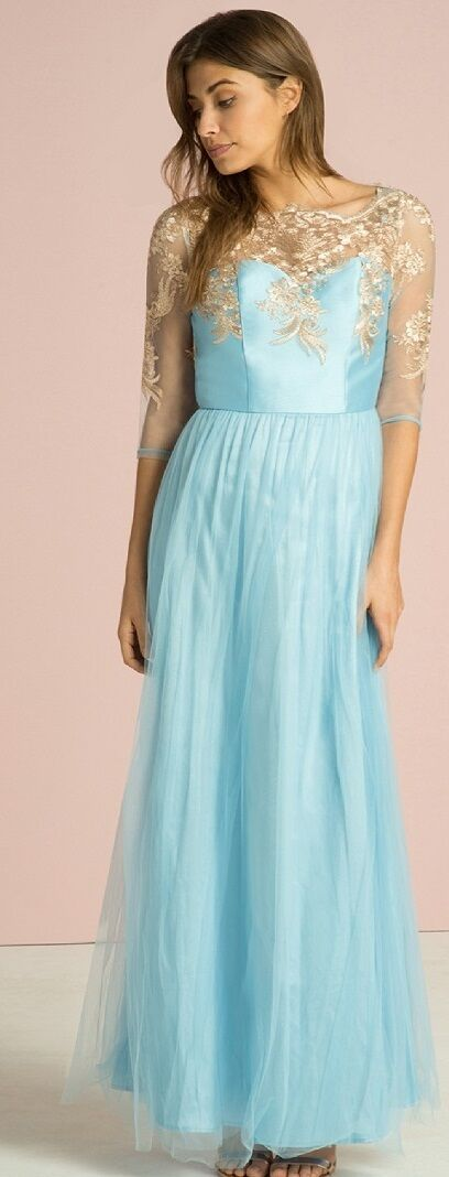 CHI CHI  London Gabriel Blau Metallic Embroiderot  Maxi Dress 16 Blau Rosa Gold