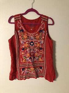 Johnny Was JWLA Josephine Embroidered Linen Sleeveless Red Blouse Top M Boho