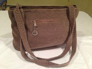 Large-THE-SAK-Brown-Beige-Crocheted-Knit-amp-Nylon-Shoulder-Bag-Handbag-Tote-EUC