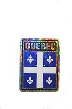 QUEBEC CANADA PROVINCIAL FLAG  SQUARE METALLIC BUMPER STICKER 4 X 3 INCH