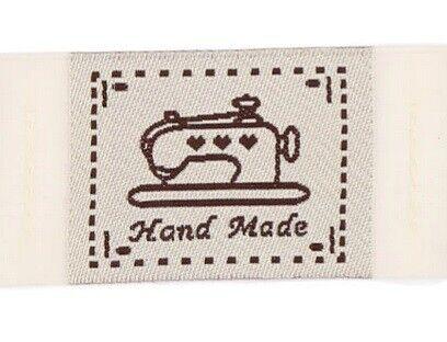 """25 Etichette in Tessuto Rettangolari con scritta /""""Hand Made /"""" 40x30mm"""
