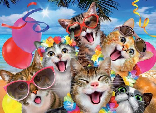 1000 Piece Jigsaws 2:1 Set Cats /& Beach Selfie Animal Puzzle Collection 05216