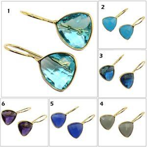 Trilian-Amethyst-Chalcedony-Topaz-Hook-Gold-Plated-Earring-Gemstone-Jewelry