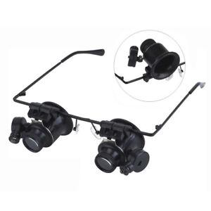 20x-fach-Juwelier-Uhrmacher-Lupe-Brillenlupe-Lupenbrille-LED-UhrReparatur-F2X3