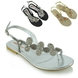 126b27362efb Image is loading Womens-Slingback-Toe-Post-Diamante-Sandals-Ladies-Flat-