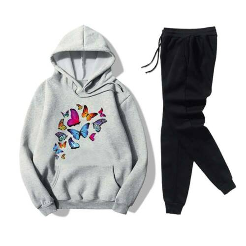 Women Butterfly Tracksuit Set Hoodie Tops Gym Jogging Trousers Activewear Sports