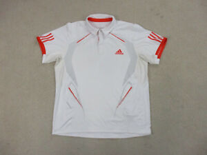 Adidas-Polo-Shirt-Adult-Extra-Large-White-Orange-Lightweight-Golf-Rugby-Mens