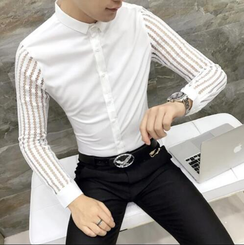 Mens Lace Sleeve Button Front Slim Fit Casual Party Shirt Tops Stand Collar T145