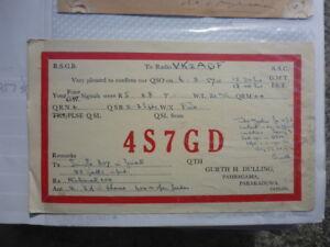 OLD-VINTAGE-QSL-HAM-RADIO-CARD-PARAKADUWA-CEYLON-1957
