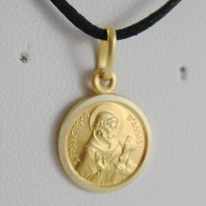 Solid 18k yellow gold st saint francis francesco assisi medal made image is loading solid 18k yellow gold st saint francis francesco aloadofball Choice Image