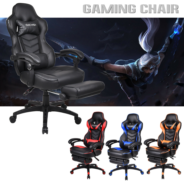 Racing Gaming Office Chair Ergonomic Computer Rocker Recliner Desk Seat Footrest