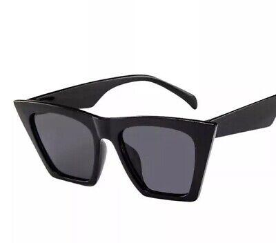 Sonnenbrille Damen Eckig Edge Vintage Retro Blogger Trend Designer schwarz NEU