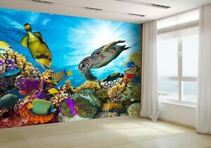 Coral-Reef-With-Fishes-and-Turtle-Wallpaper-Mural-Photo-44151192-budget-paper