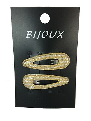 2 x Pack 4 Pink Hair bendies glitter metal 5cm sleepies sparkly snap clips grips