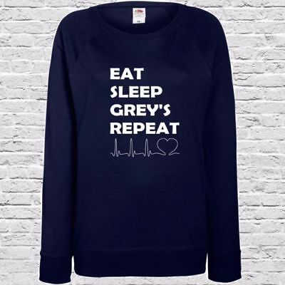 Grey/'S ANATOMY STAMPATO LADIES JUMPER-EAT SLEEP GRIGI ripetere