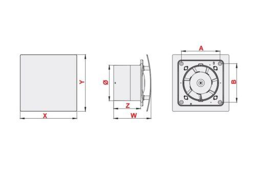 Or Salle De Bain Extracteur Ventilateur 125 mm avec minuterie et l/'humidité capteur humidostat