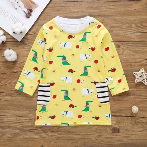 Toddler Baby Kids Girl Print Dress Long Sleeve Dresses Cotton Dresses Clothes