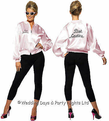 4-22 Official Pink Ladies Jacket Grease Outfit 50s 70s Film Fancy Dress Costume