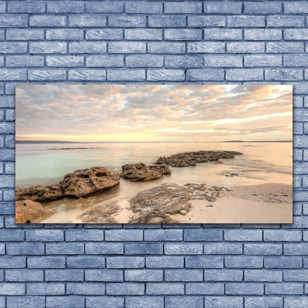 Wall art Print on Plexiglas® Acrylic 140x70 Sea Stones Landscape
