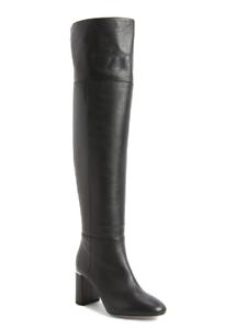 Lewit Renata Cuff Over Knee Women's Black Leather Boot Sz 38 *