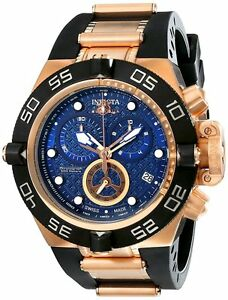 New mens invicta 16147 subaqua chronograph blue dial black rubber watch ebay for Bulltoro watches
