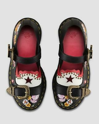Dr Martens Womens Serova Aunt Sally Embroidered Leather Lace Up Shoe Black