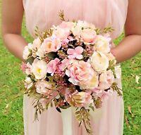 Yamudabridal Bridesmaid Flower Girls Handmade Wedding Bouquet Silk Pink Peony