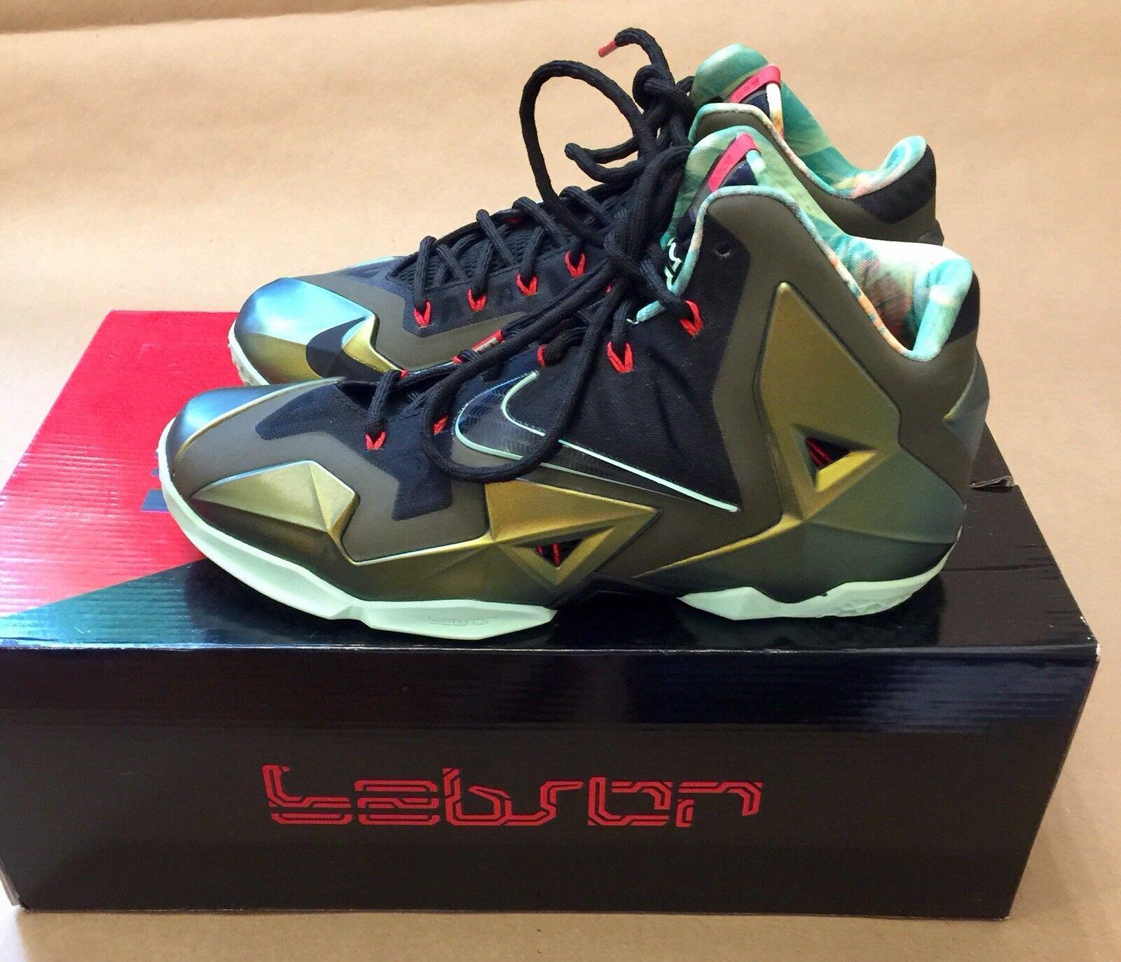 "Nike LeBron 11 ""King's Pride"" 616175 700 Parachute   gold Arctic Green Sz US 9.5"