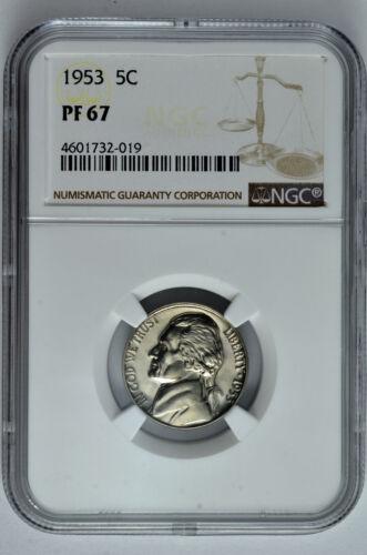 1953 5c Proof Jefferson Nickel NGC PF 67