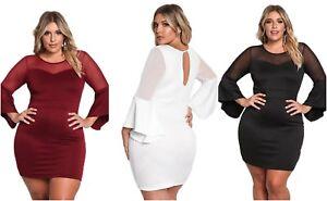 Bodycon-Dress-Plus-Size-Ladies-White-Black-Red-Mesh-Trim-Bell-Sleeve-14-16-18