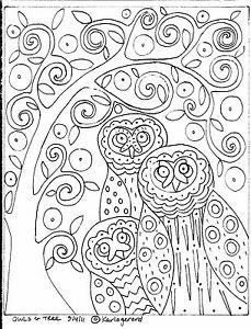 RUG-HOOKING-CRAFT-PAPER-PATTERN-Owls-and-Tree-FOLK-ART-PRIMITIVE-Karla-Gerard