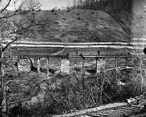 New-8x10-Civil-War-Photo-Bridge-at-Hanover-Junction-Burned-After-Gettysburg