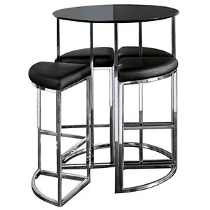 Astonishing Details About New Dwell Style Gloss Black Orbit Bar Barstool Table Set Inc 4 Chairs Caraccident5 Cool Chair Designs And Ideas Caraccident5Info