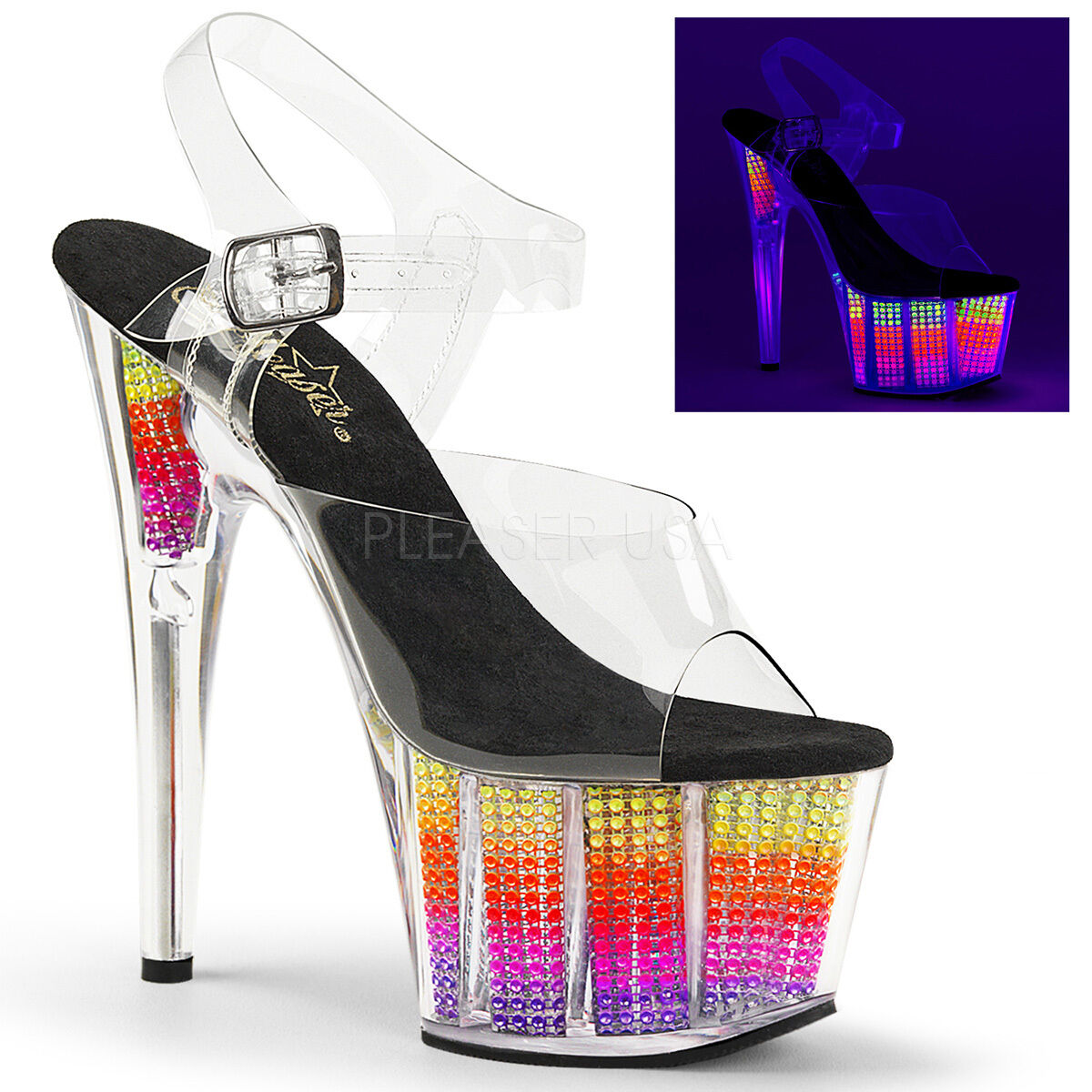 Sexy Stripper Neon UV Reactive Rhinestone Filled Platform 7