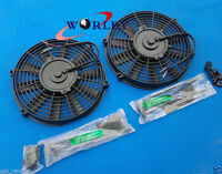2 × 9 Inch Universal Electric Radiator Cooling Fan + Mounting Kit