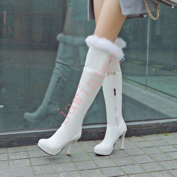 Winter furry Faux Rabbit Fur Women knee high boots block high heel platform shoe