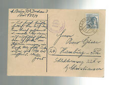 1947 Germany Dachau War Criminal Detainee Hand drawn postcard Cover