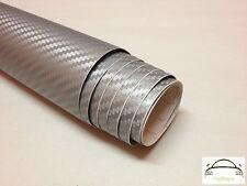 80cm x 1.5m 3D Silver Carbon Fibre Vinyl Wrap Cars Adhesive Decal (Bubble Free)