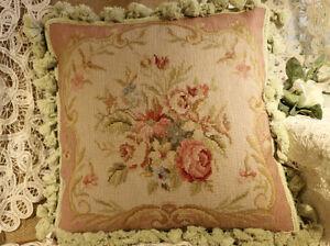 16-034-Pastel-Pink-RoseElegant-Beautiful-FloralHandmade-Needlepoint-Pillow-Cushion