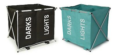 Aluminium Frame Large Folding Double Laundry Hamper Basket Bin Light Dark Sorter