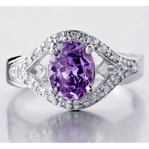 Bliss-Women-039-s-Amethyst-gemstone-Sterling-Silver-2-10Ctww-Fashion-Engagement-Ring