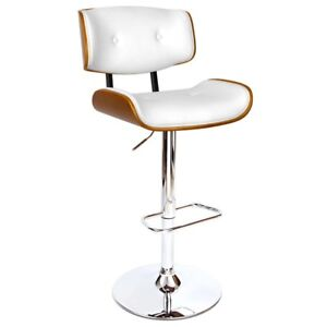 Pu Leather Wooden Bar Stool Swivel With