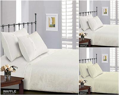 Luxurious Waffle Duvet Cover White Cream Single Double King Super King Bedding