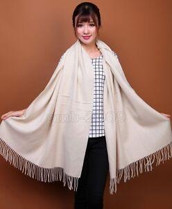 New Women's Fashion White 100% Cashmere Pashmina Soft Warm Wrap Shawl Scarf